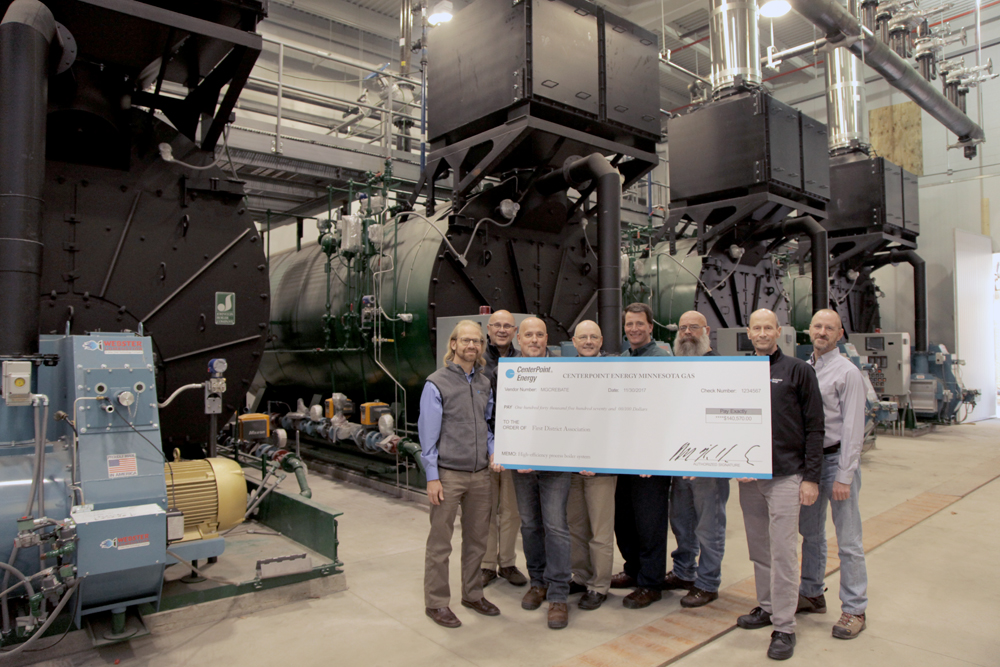 CenterPoint Presents $140,570 Rebate Check for New Process Boiler ...