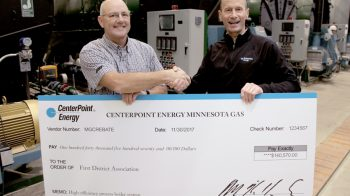 CenterPoint Presents $140,570 Rebate Check for New Process Boiler Plant